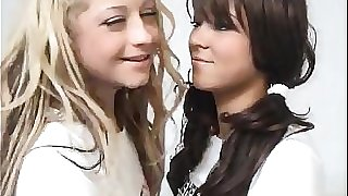 Blonde Teen Pounds A Brunette Schoolgirl With Belt dick